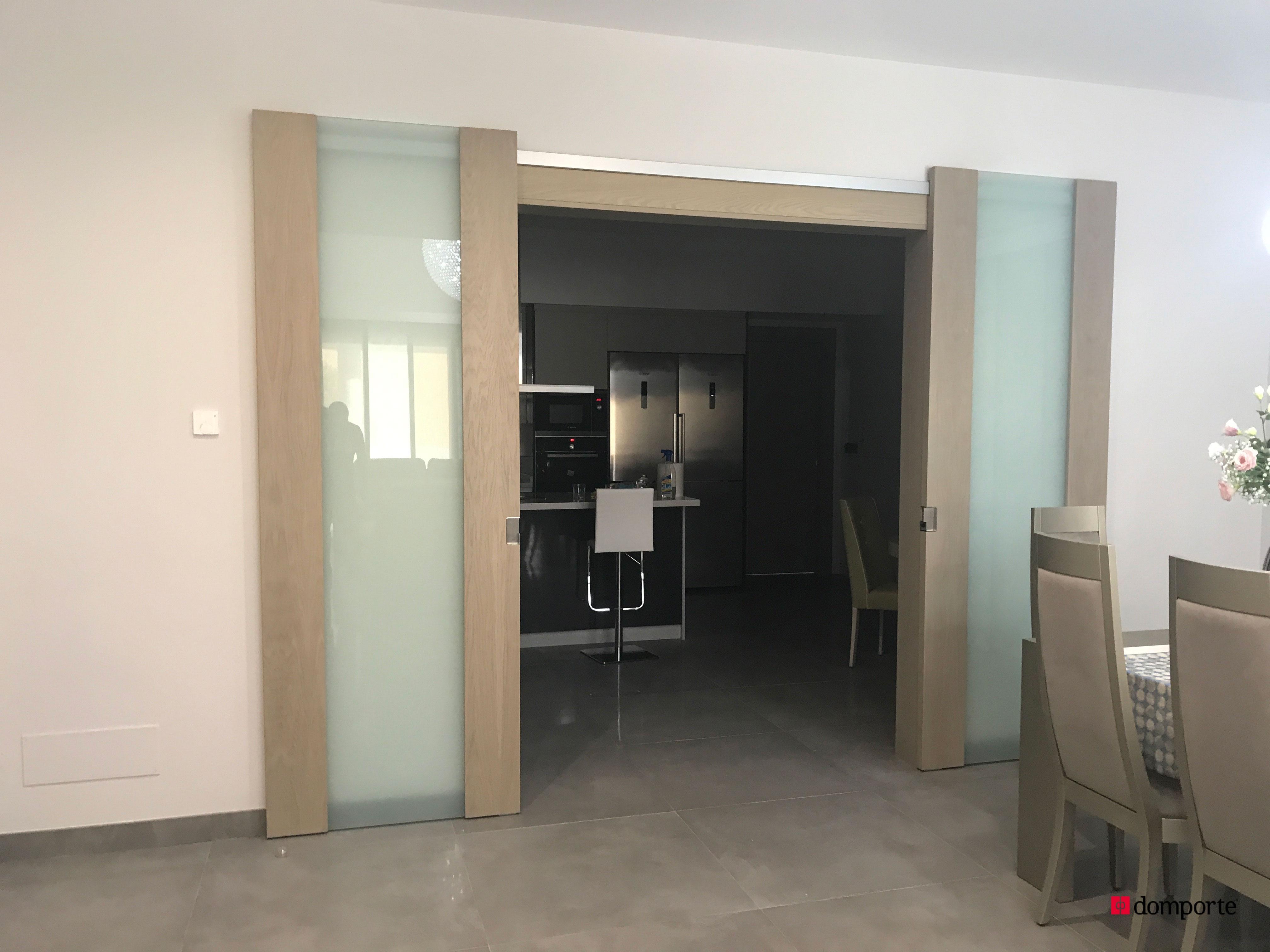 Domporte puerta doble corredera cristalera con guias vistas domporte - Puerta corredera doble ...